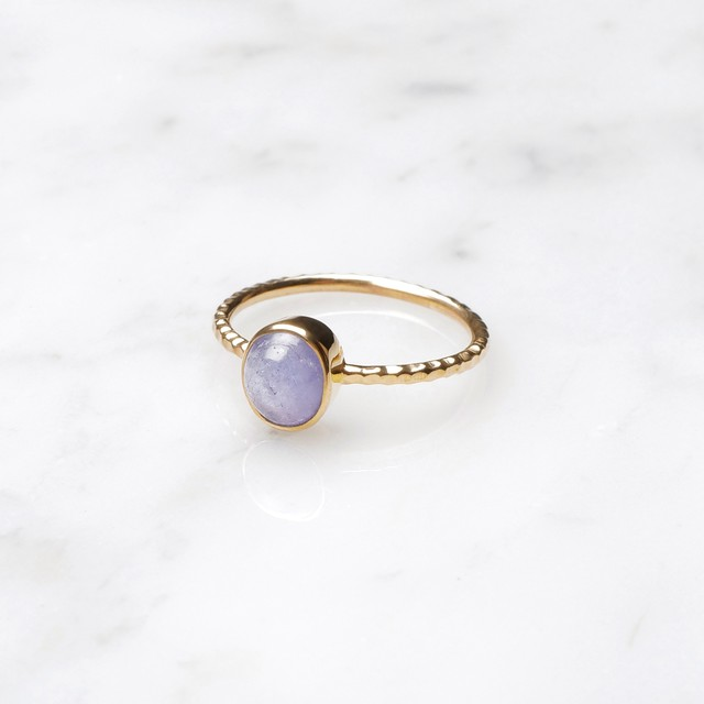 S925 SINGLE PETIT STONE RING IOLITE