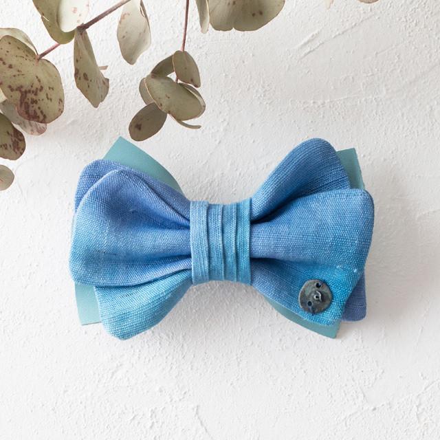 麻の蝶ネクタイ 〈Bow Tie〉Blue