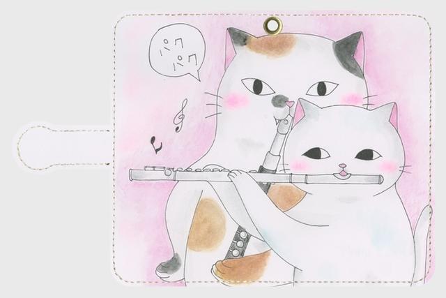 (Android用)フルート2匹猫の手帳型スマホケース