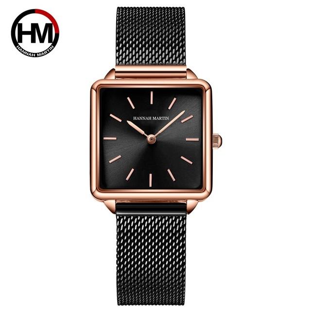 ジャパンムーブメントレディースローズゴールドシンプルファッションカジュアルブランド腕時計ラグジュアリーレディスクエアウォッチ108-H-WFH