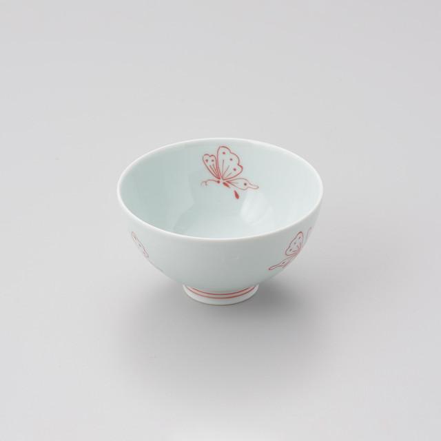 """【青花 匠】""""ちょうちょ"""" 3.8寸丸飯碗(赤)"""