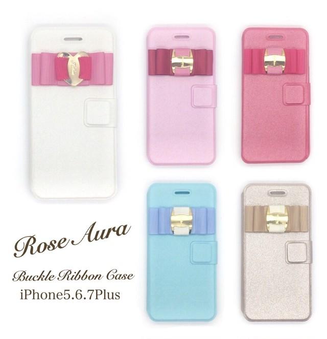 ♡リボン付きiPhone手帳型ケース