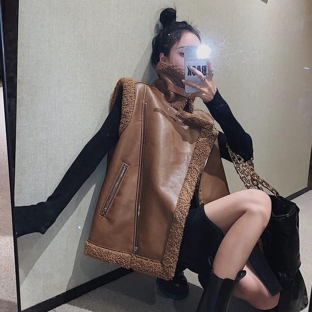 color leather vest jacket