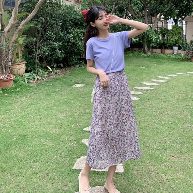 クルーネックTシャツ+花柄スカート N6019