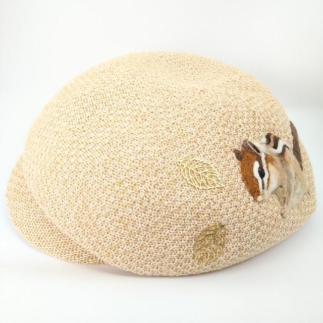 【水仙舎】羊毛刺繍キャスケット帽ベージュ(リス)