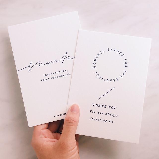 活版印刷のポストカード 2枚セット/ サンキューC・D