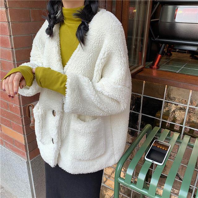 【送料無料】 大人見えボア♡ 大人可愛い ノーカラー もこもこ ボアジャケット カーディガン コート 羽織り