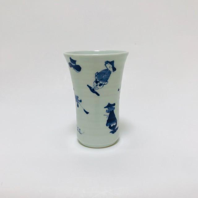 【青花】 異人づくしビアカップ