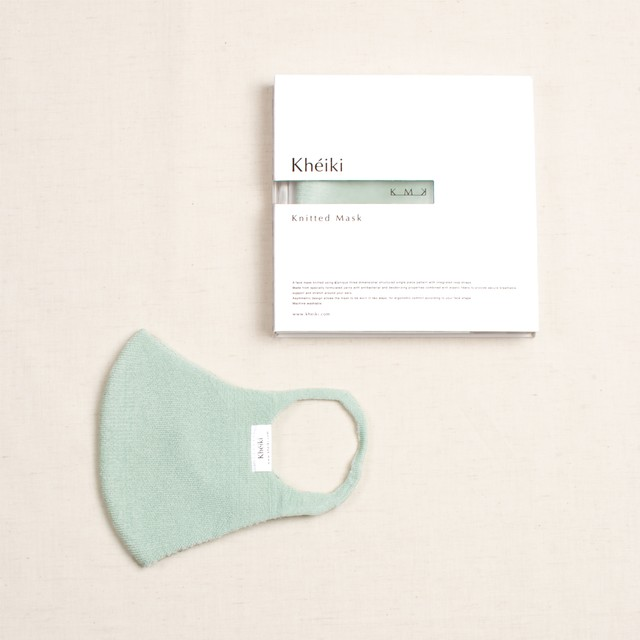 Knitted Mask 2pcs Set / KMK / Tussar Silk Filament / #Mint