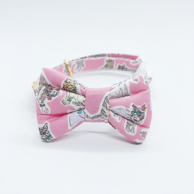 猫 首輪 リボン ピンク 猫柄 リバティプリント×Willoughby Mews