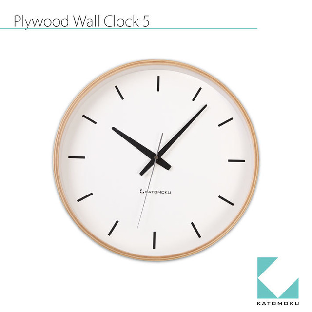 KATOMOKU plywood wall clock 5 km-49NRC 電波時計