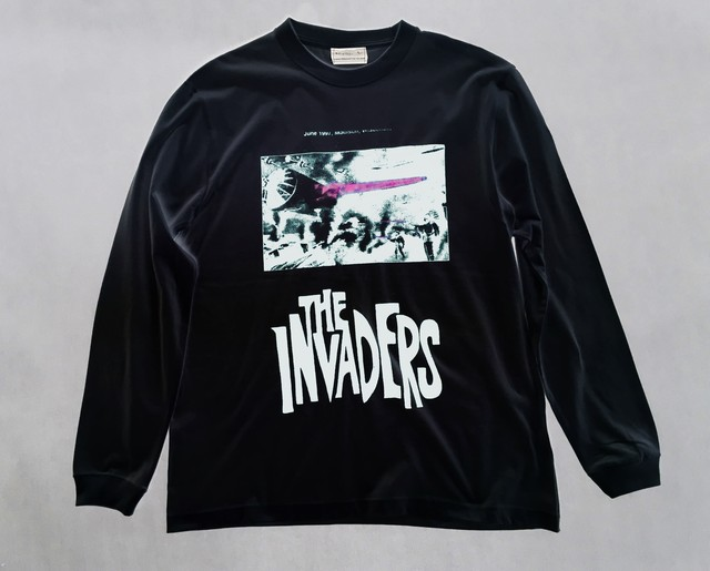 2-212-923  THE INVADERS L/S TEE [墨BK X WHITEGRAY] size:L