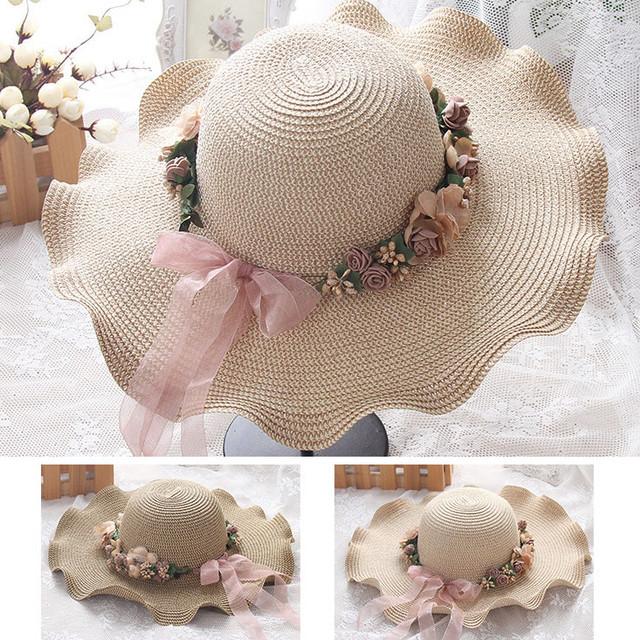 ♠帽子 小顔効果UVカット つば広ハット