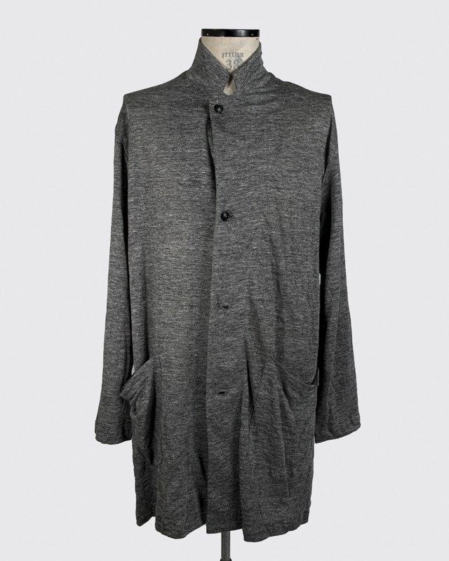 T/f linen knit cardigan coat - combined gray