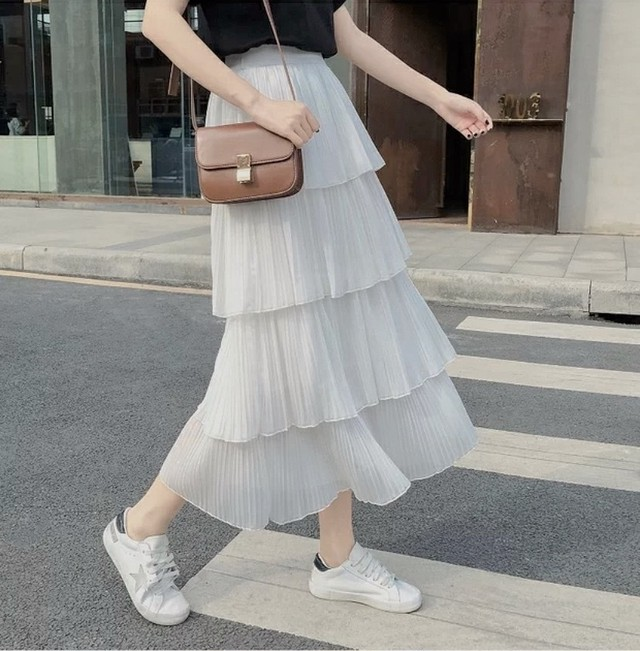 frill layer skirt 2color