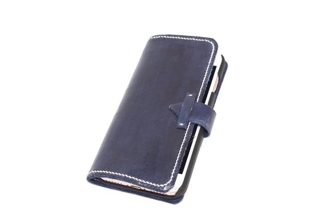 【R様オーダーメイド】紺色染色ヌメ革iphoneケース