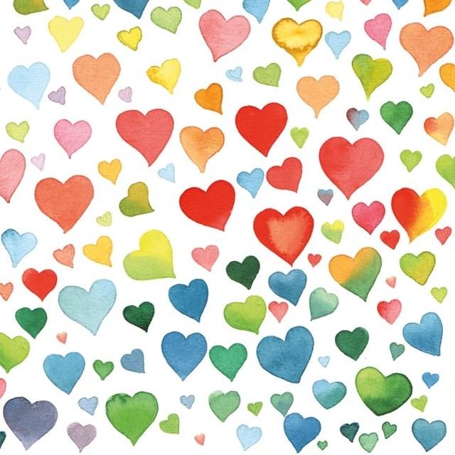 【Ambiente】バラ売り2枚 ランチサイズ ペーパーナプキン COLORFUL HEARTS MIX マルチカラー