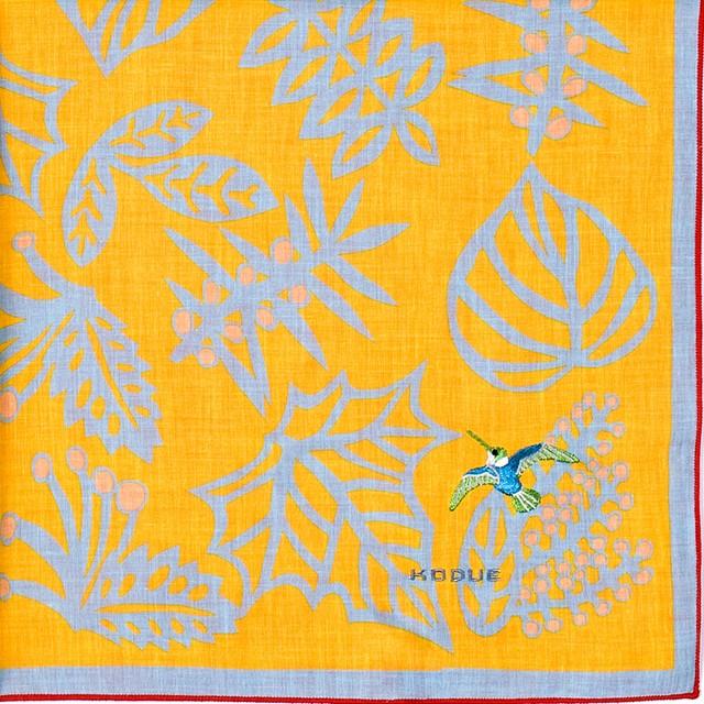 ひびのこづえ ハンカチ 実を食べた鳥 / イエロー 刺繍入り 2枚合わせ 48x48cm KH07-06