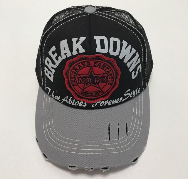 帽子 キャップ  英字 メッシュ ダメージ加工 メンズ ブラック