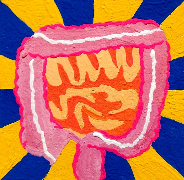 Lovely intestine / Acrylic Painting / 50mm×50mm / Original Picture