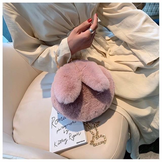 ラスト1点【即納】ラビットファーバッグ(Pink)