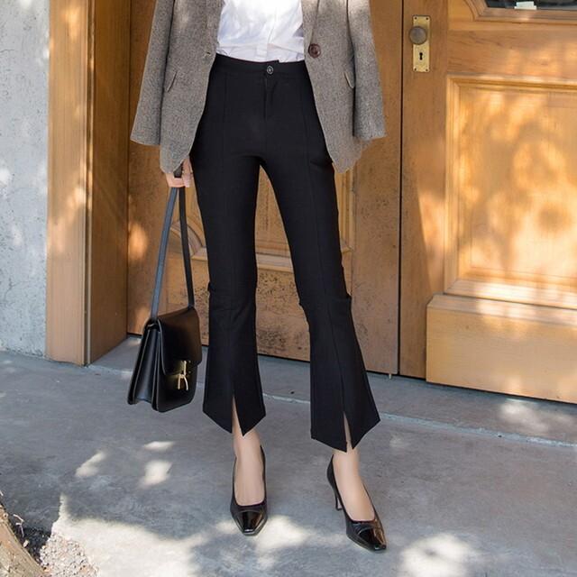 P6363 パンツ ハイウエストパンツ ブーツカットパンツ フレアパンツ フレアーパンツ センタースリットパンツ フロントスリットパンツ 細身パンツ 美脚パンツ 黒のパンツレディース 九分丈パンツ 20代 30代 40代