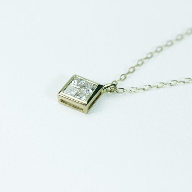 ミステリーセッティング ダイヤモンドペンダントK18 イエローゴールド・ホワイトゴールド