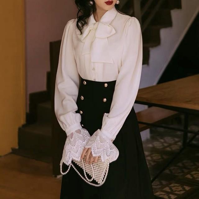 big ribbon blouse + skirt set