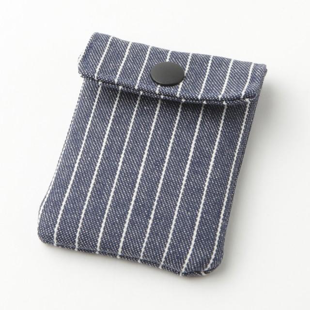 携帯灰皿 おしゃれ かわいい ヒッコリー ストライプ 48275 熟練職人のハンドメイド インナーリフィル合計2個付属 日本製