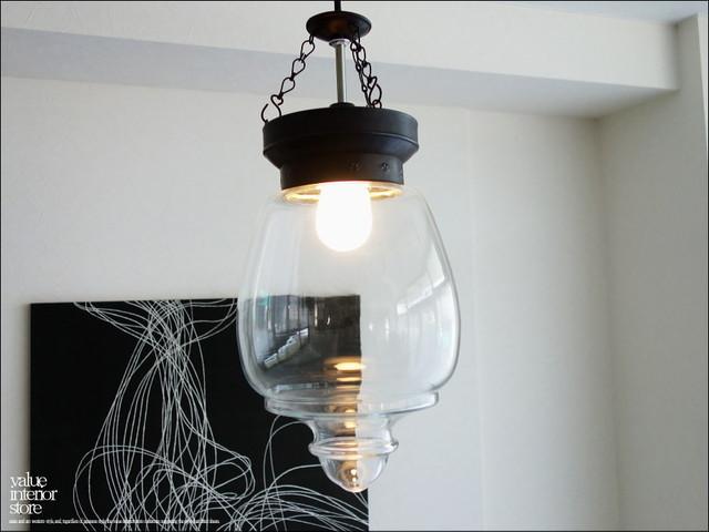 ガラスペンダントライトBIN 照明器具 天井照明 ランプ レトロ調 吊り下げ灯 真鍮 手作り エスニック カフェ照明