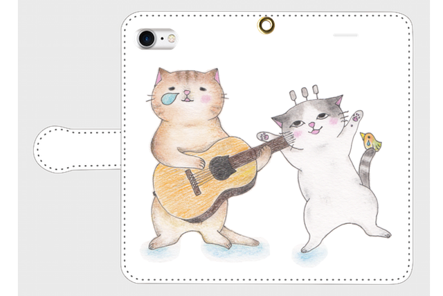 (iPhone用)ギター猫2匹の手帳型スマホケース