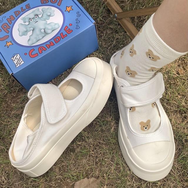 round toes velcro platform shoes 3c's