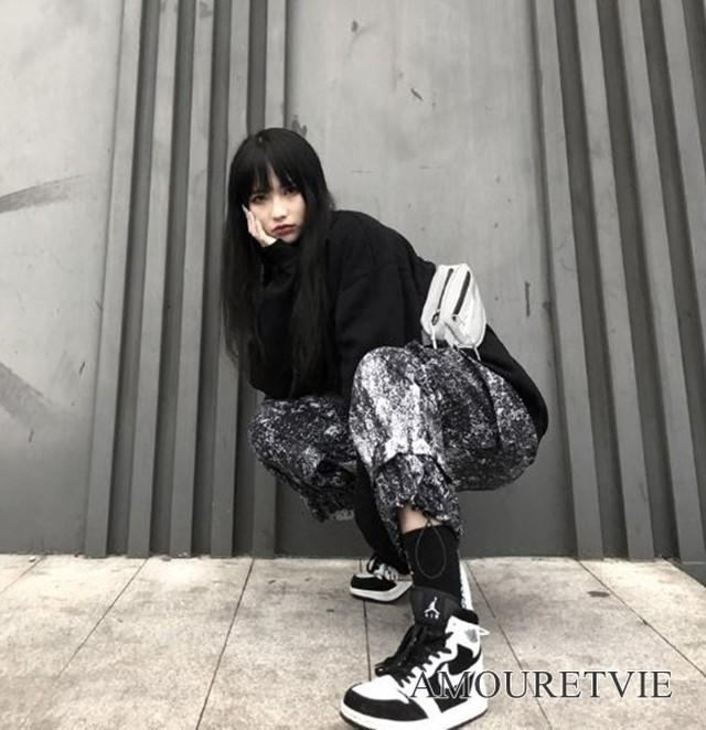 ボトムス カジュアル ストリート アシンメトリー 白黒 ピープス ユニセックス オルチャン 韓国ファッション 1294