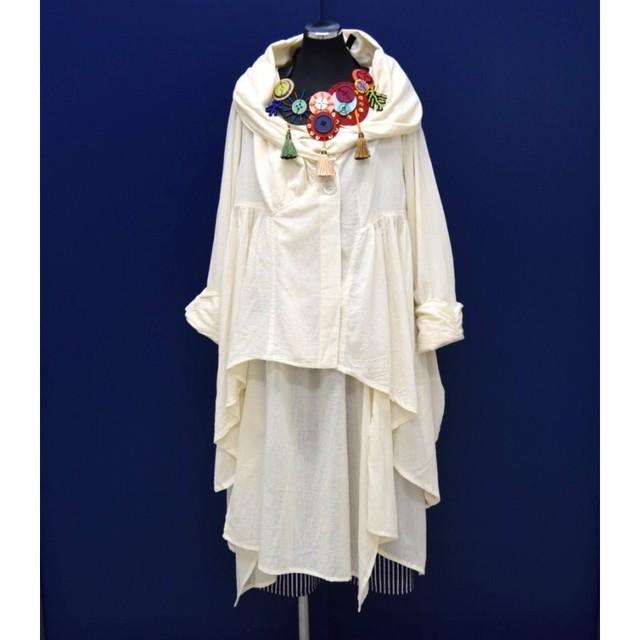 コットンガーゼ シングルガーゼ ボリューム襟デザインジャケット 生成り無地