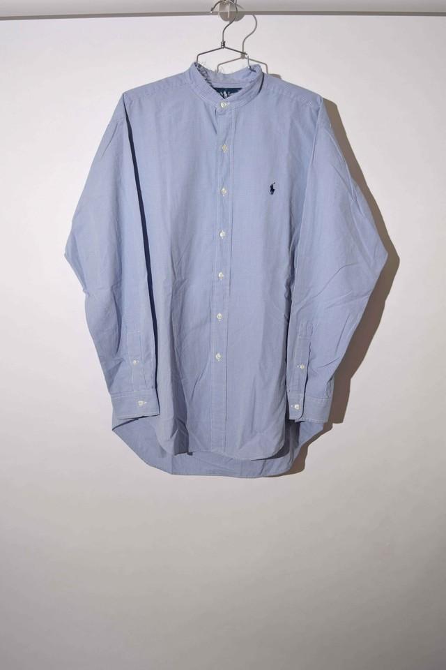 【Mサイズ】 RALPH LAUREN ラルフローレン CUSTOM CHECK SHIRTS リメイク長袖チェックシャツ BLUE 400602190714