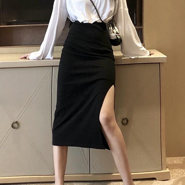 【ボトムス】スリット着まわし力抜群エレガント大人気細見えスカート33151678