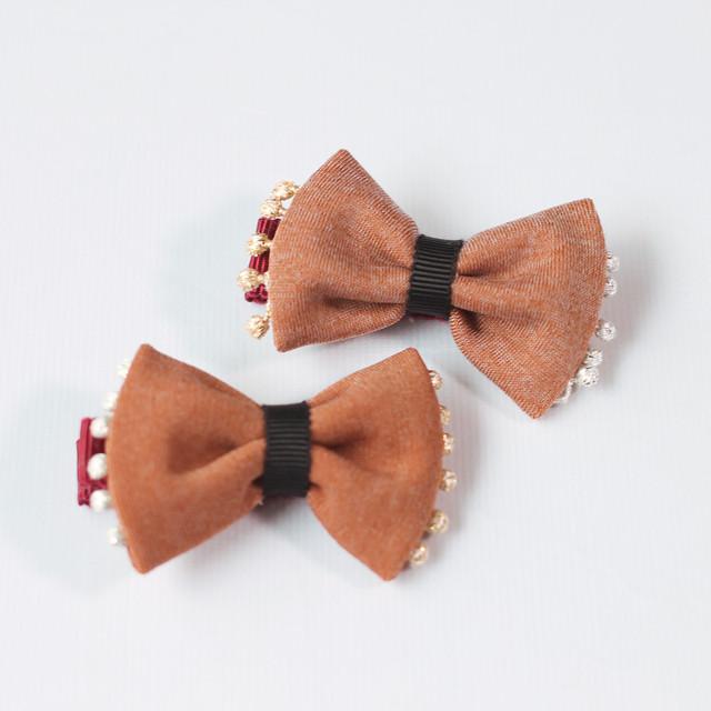 wacco×Neige accessories.玉レース縁どりリボンヘアクリップ/ブラウン