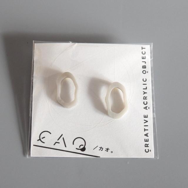 CAO アクリルワッカ(小)モチーフピアス -marble gray-