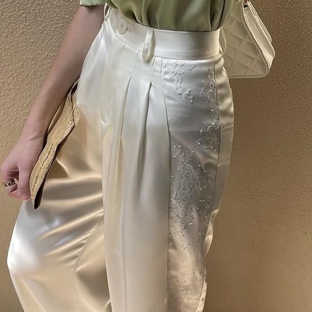 side lace satin wide pants