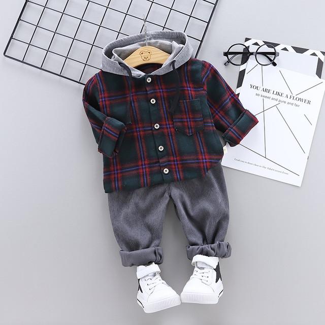 【子供服】シンプルチェック柄切り替えフート付きボーイズ2点セット24029874
