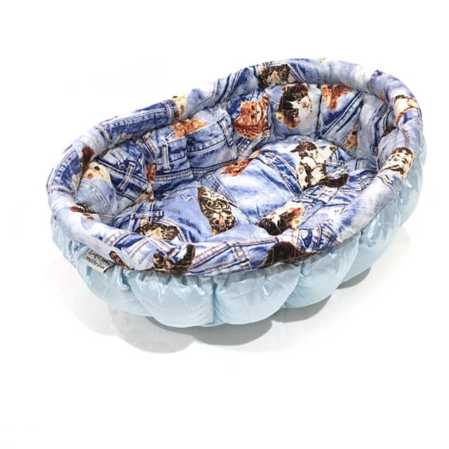 ふーじこちゃんママ手作り ぽんぽんベッド (ライトブルー・デニム風猫柄)Mサイズ 【CBPB02-0060M】