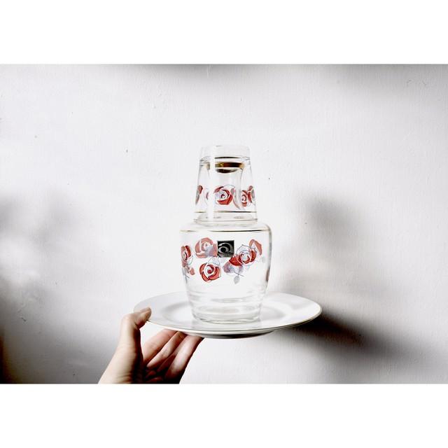 【 冠水瓶 - ばら模様 - 】グラス / ピッチャー / アデリア / 70's / retro / vintage /japan