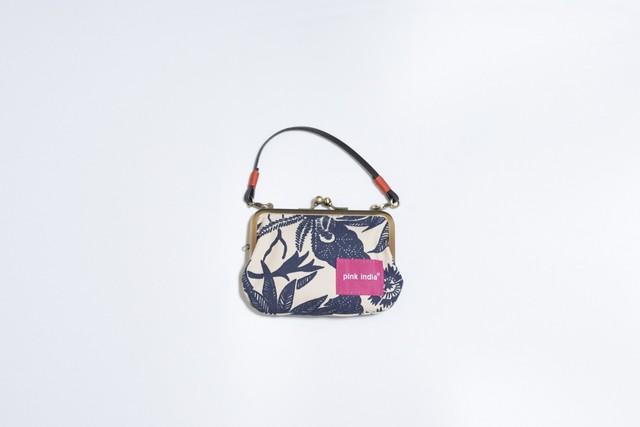 【秀和 x pink india】北欧デザイン 持ち手付手提げがまぐち財布 | paradise navy