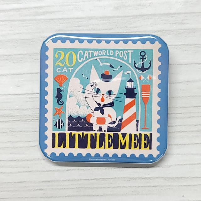 スタンプアニマル Little mee by 黒ねこ意匠 正方形缶バッチ