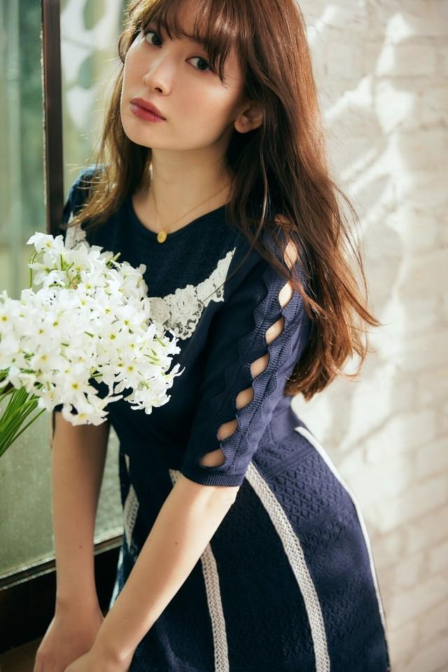 Lace-trimmed Cotton-blend Knit Dress