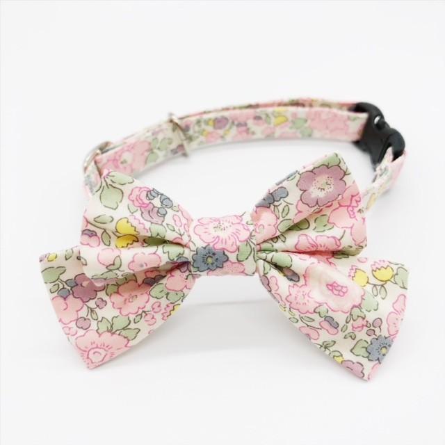 猫 首輪 リボン中 ピンク 花柄 リバティプリント×Betsy Ann