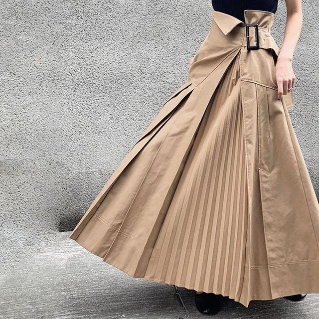 プリーツ切り替え スカート