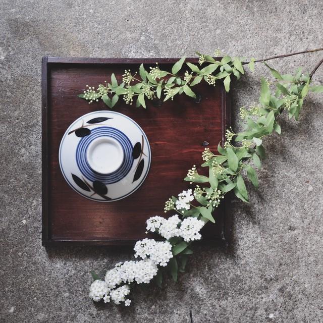 【レトロ飯茶碗】木の実 黒 藍 昭和レトロ デッドストック