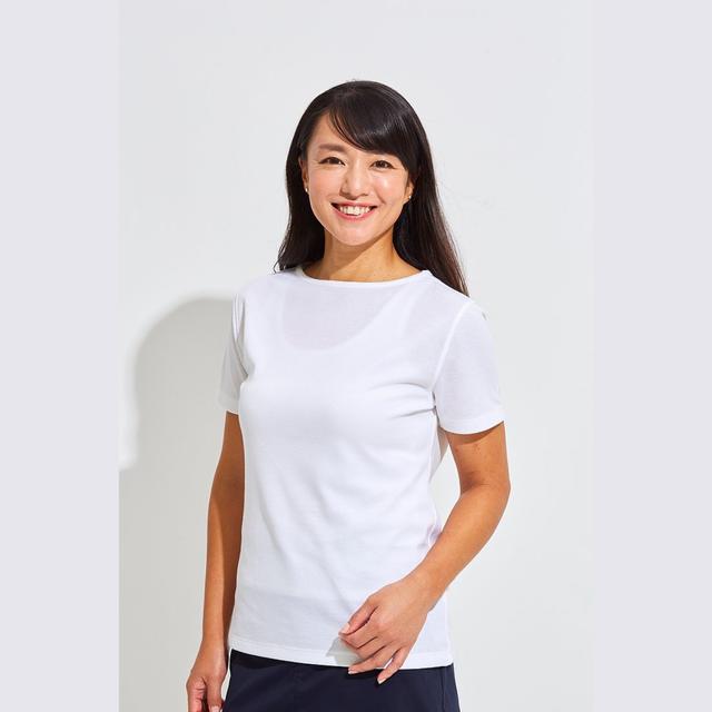 【 LADIES 】Tシャツ <ボートネック><WHITE><Sサイズ>