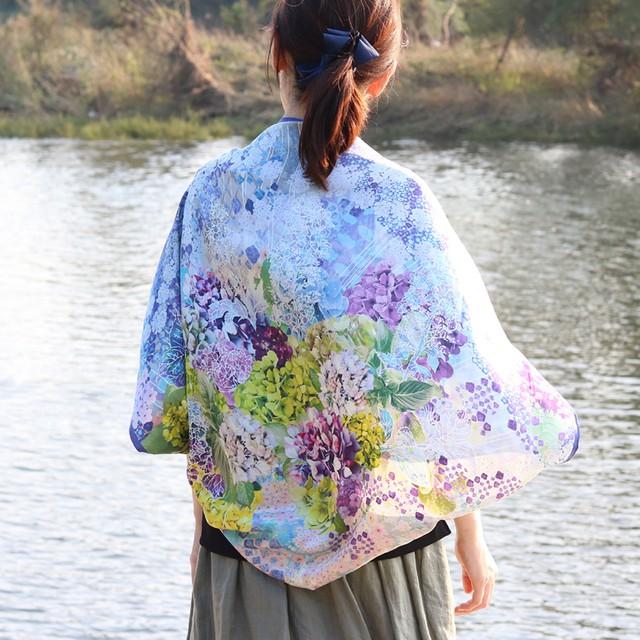 【シルクスカーフ】水の器紫陽花浮かべて(ブルー・手巻き)